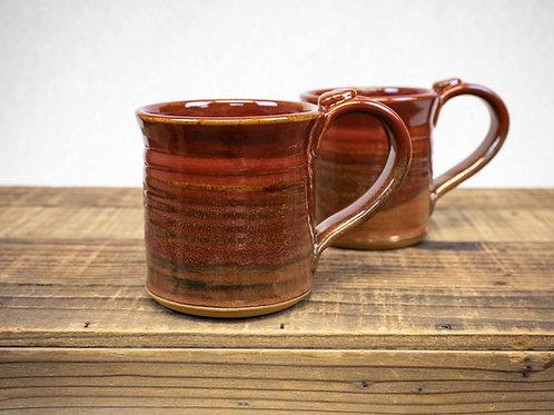 Wheel Thrown Stoneware Pottery Mug, Deep Red