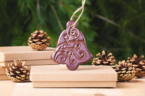Bell Ornament with Gift Box and Gift Tag