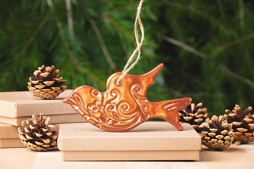 Dove Ornament with Gift Box and Gift Tag