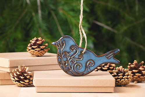 Bird Ornament with Gift Box and Gift Tag