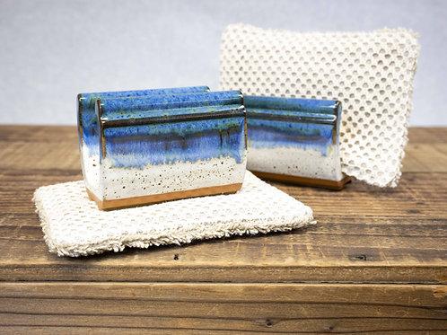 Stoneware Sponge Holder, Ocean Blue