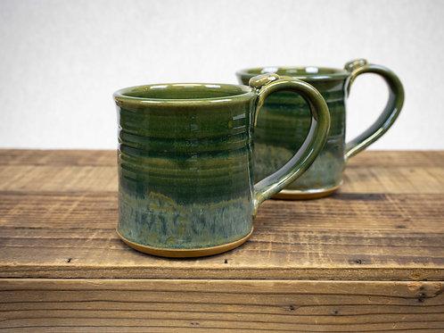 Wheel Thrown Stoneware Pottery Mug, Celadon Green