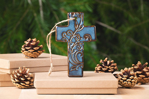 Cross Ornament with Gift Box and Gift Tag