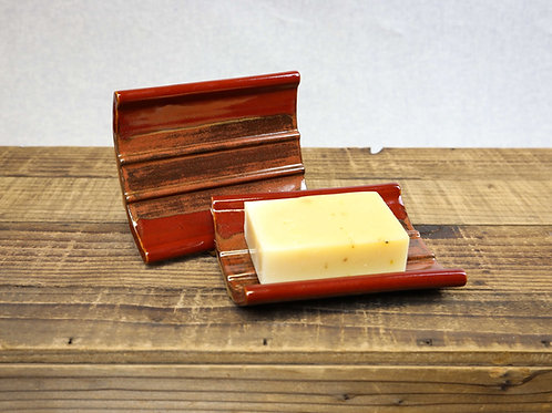 Stoneware Soap Dish, Deep Red