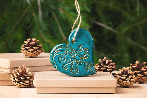 Heart Ornament with Gift Box and Gift Tag