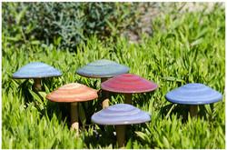 Solorio Pottery Garden Mushrooms