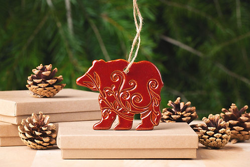 Bear Ornament with Gift Box and Gift Tag