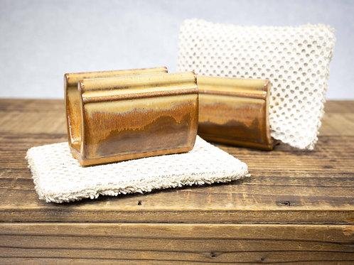Stoneware Sponge Holder, Tan Leather