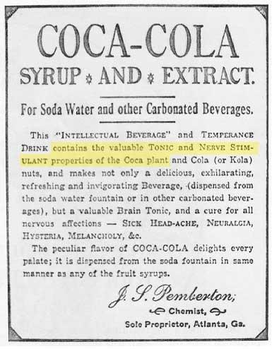 coca cola original ad mentioning cocaine