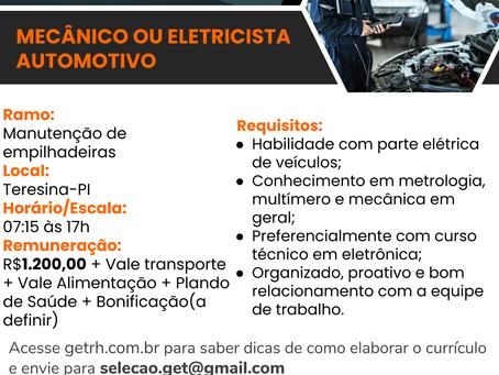 Vaga: Mecânico/ Eletricista automotivo