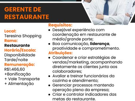 Vaga: Gerente de Restaurante