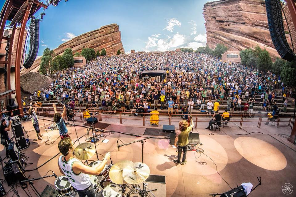 Pigeons onstage at Red Rocks