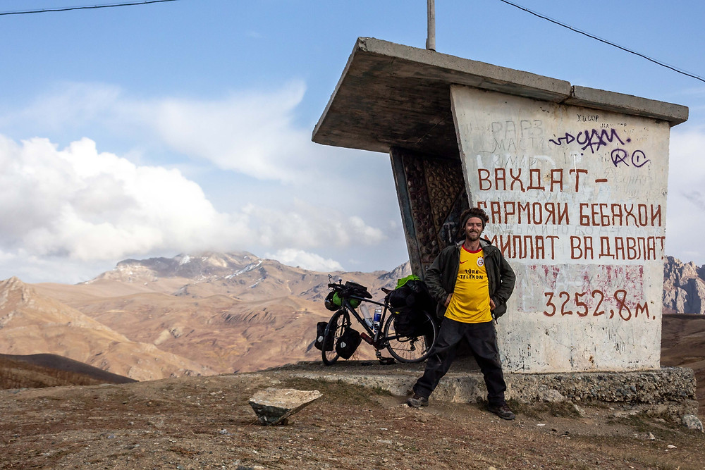 Reaching the top of the pass in Tajikistan