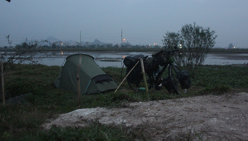 Stealth camping in among rice fields