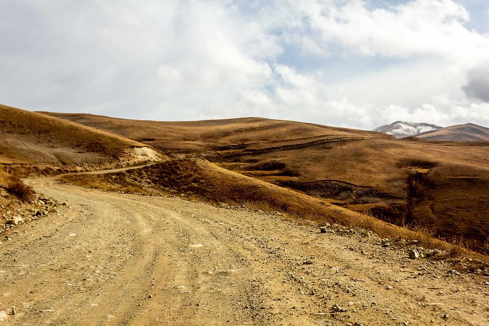 Cresting the pass in Tajikistan