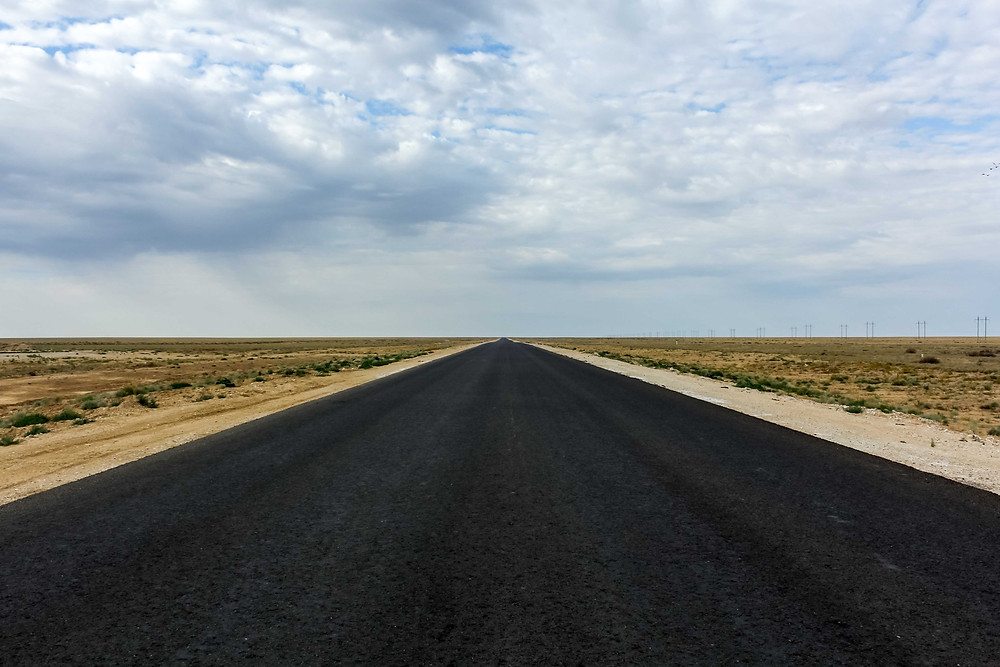 Straight infinite highway of Kazakhstan