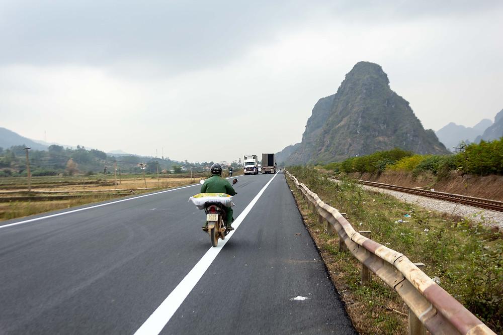 On the road to Hanoi, Vietnam