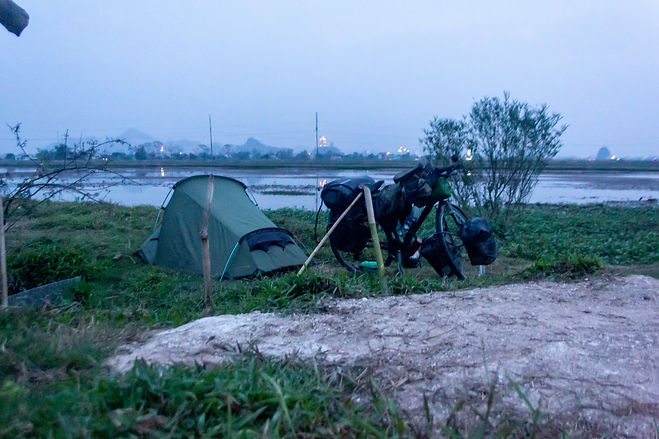Stealth camping in the rice fields