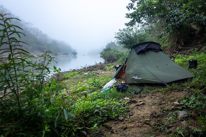 Wild camping by the river vietnam
