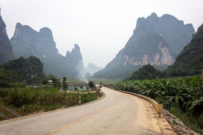 Misty limstone mountains china