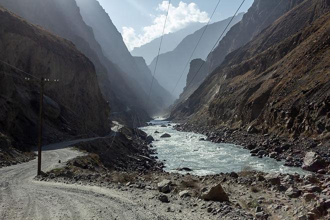 Fast flowing river Tajikistan