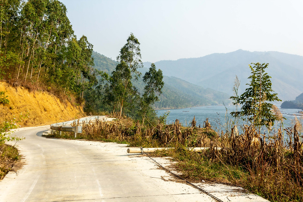 Road by the river in China
