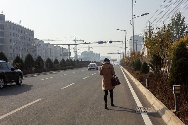 Walking along the highway china