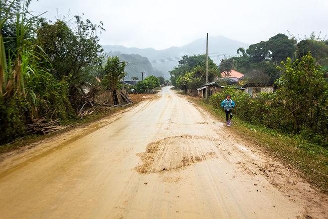 Dirt roads and rain Laos