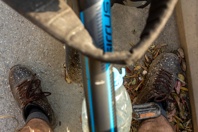 Filthy boots whilst cycle touring