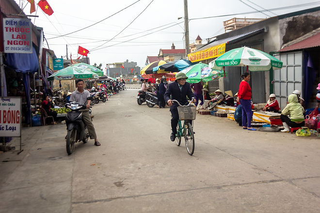 Bustling market in vietnam