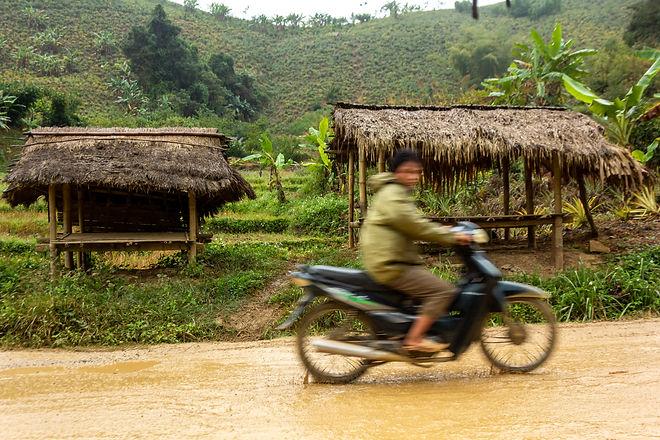 Bamboo huts Laos