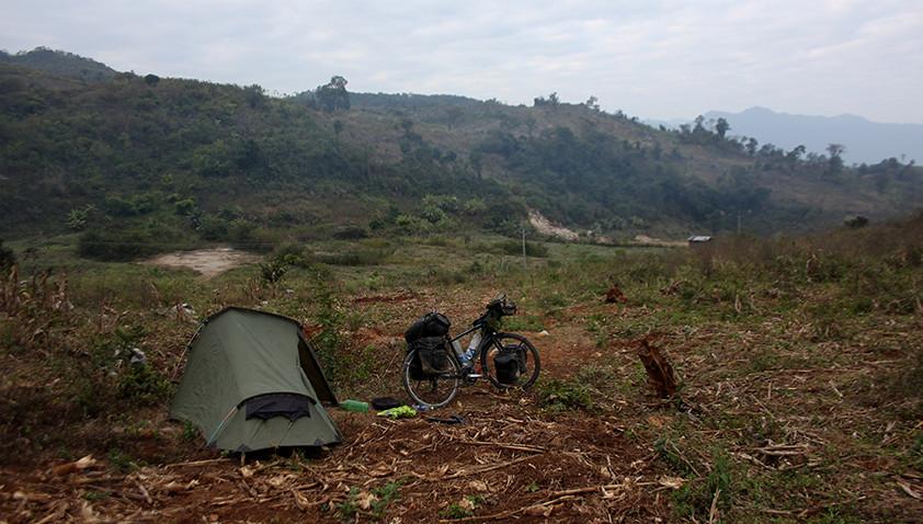 Wild camping in Laos