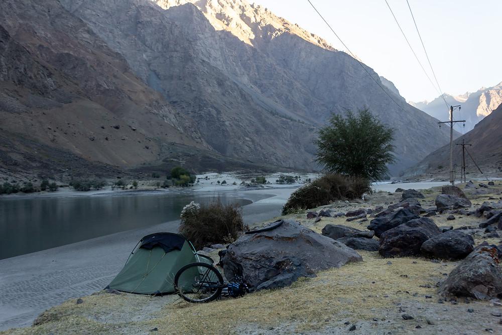 Camping beside the Panj river, Tajikistan