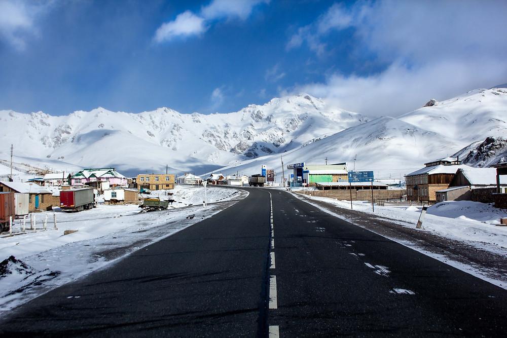 Snow covered Sary-Tash, kyrgyzstan
