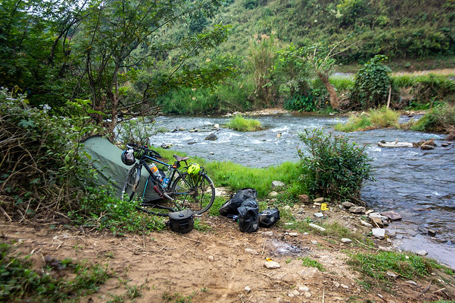 Camping by the river laos