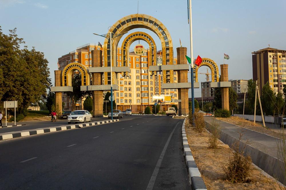 Entering Dushanbe, Tajikistan