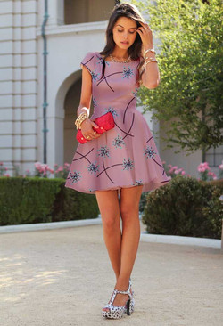 Pink Dandelion Draped on Dress