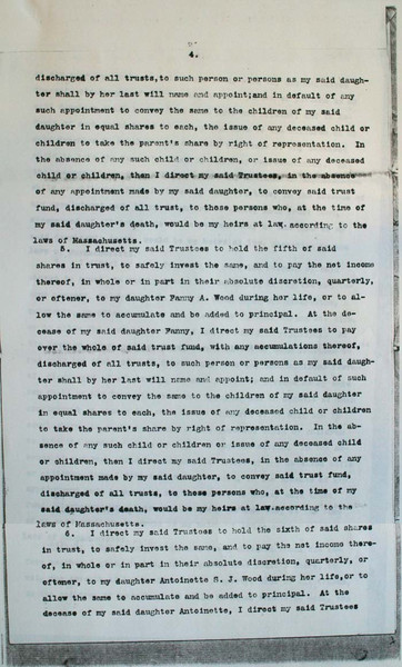 Alexander H. Wood last Will and Testament