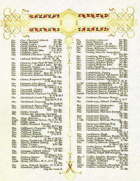the First World War Book of Remembrance.