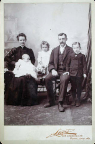 cabinet card of family of five