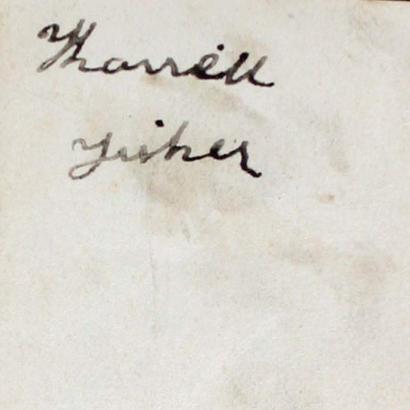 Back of undated studio portrait of Harriett Fisher