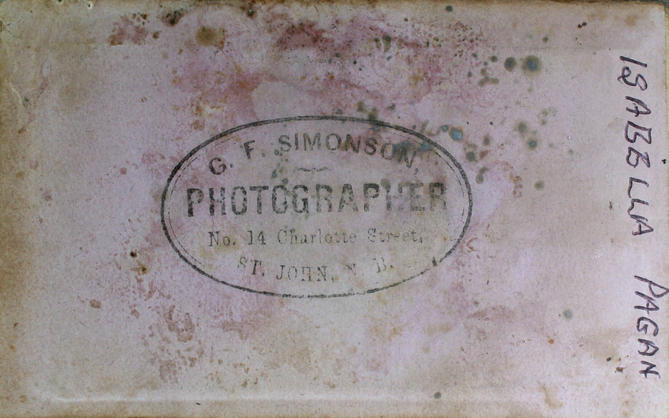 Back of undated tin type image identified on back as Isabella Pagan