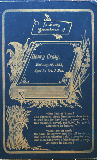 Memorial Card for Henry Harry Craigs