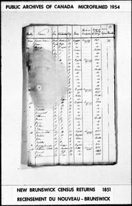 Original New Brunswick Census Return for 1851