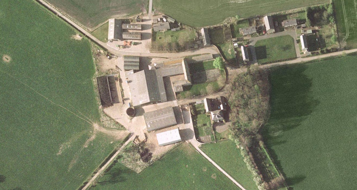 Close-up aerial view of Hetton Law Farm