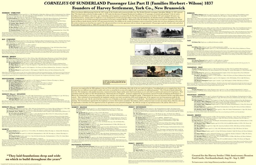 Cornelius of Sunderland Passenger List Part 2 1837