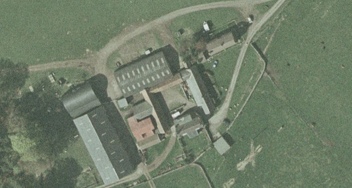 Close-up aerial view of Fowberry Moor Farm
