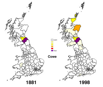 Distribution of the surname Cowe