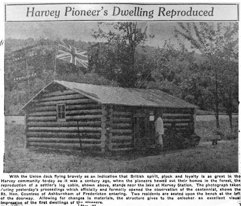 Harvey Pioneer's Dwelling Reproduced.