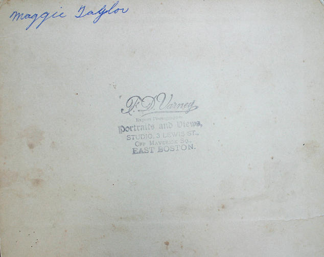 """Back of undated portrait photograph of Margaret """"Maggie"""" (Robison) Taylor (see 2465)"""